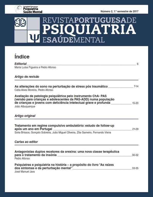 Ver N.º 2 (2017): Revista Portuguesa de Psiquiatria e Saúde Mental
