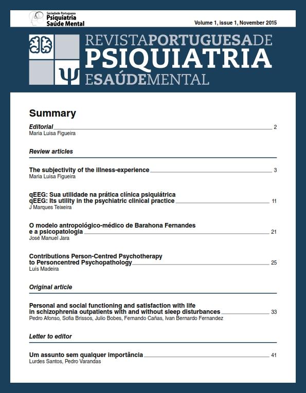 Ver Vol. 1 N.º 1 (2015): Revista Portuguesa de Psiquiatria e Saúde Mental